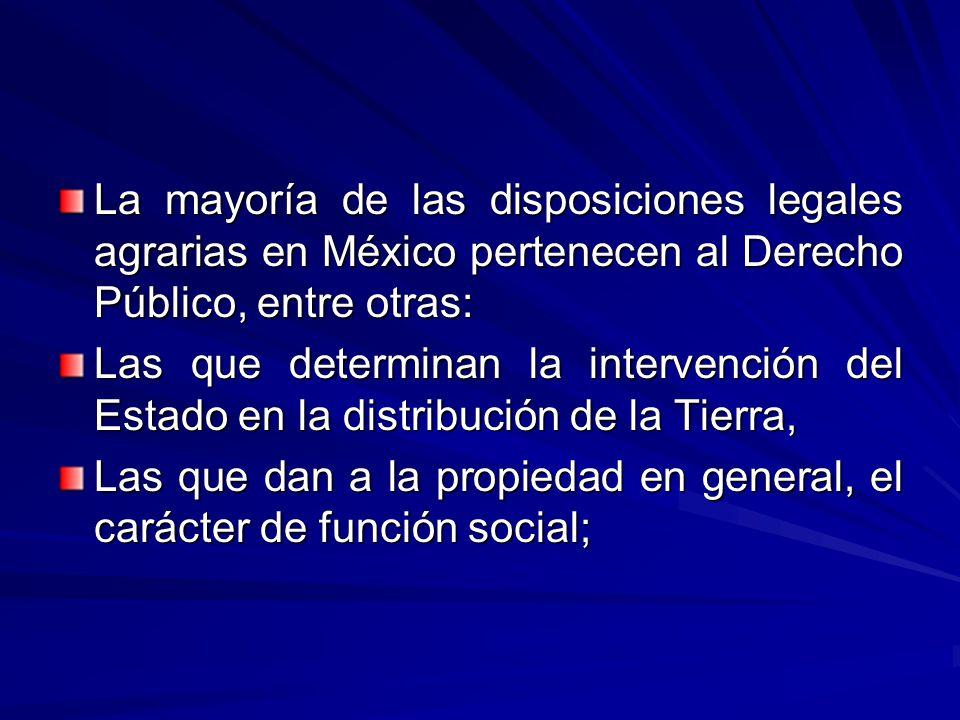 La mayoría de las disposiciones legales agrarias en México pertenecen al Derecho Público, entre otras: Las que determinan la intervención del Estado en la distribución de la Tierra, Las que dan a la propiedad en general, el carácter de función social;