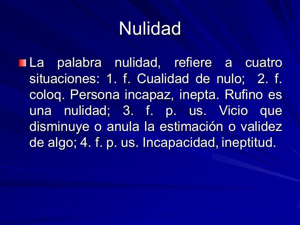 Nulidad La palabra nulidad, refiere a cuatro situaciones: 1.