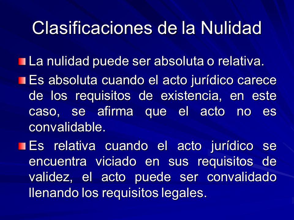 Clasificaciones de la Nulidad La nulidad puede ser absoluta o relativa.