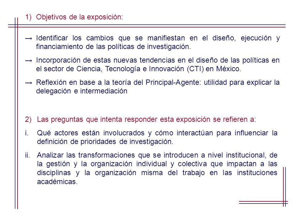 1)Objetivos de la exposición: Identificar los cambios que se manifiestan en el diseño, ejecución y financiamiento de las políticas de investigación.