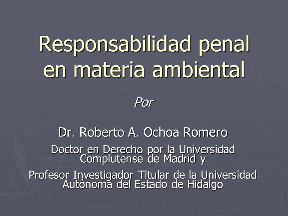 Responsabilidad penal en materia ambiental Por Dr. Roberto A. Ochoa Romero Doctor en Derecho por la Universidad Complutense de Madrid y Profesor Inves