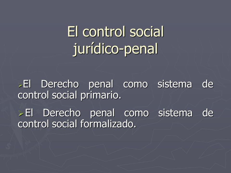 El control social jurídico-penal El Derecho penal como sistema de control social primario. El Derecho penal como sistema de control social primario. E