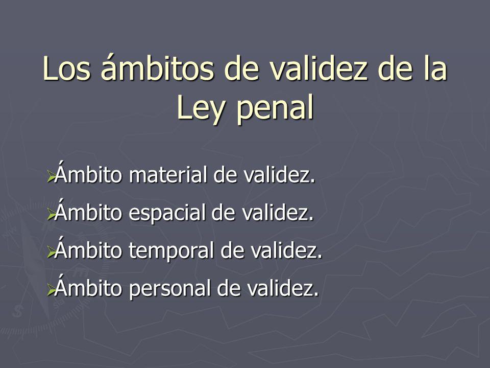 Los ámbitos de validez de la Ley penal Ámbito material de validez. Ámbito material de validez. Ámbito espacial de validez. Ámbito espacial de validez.