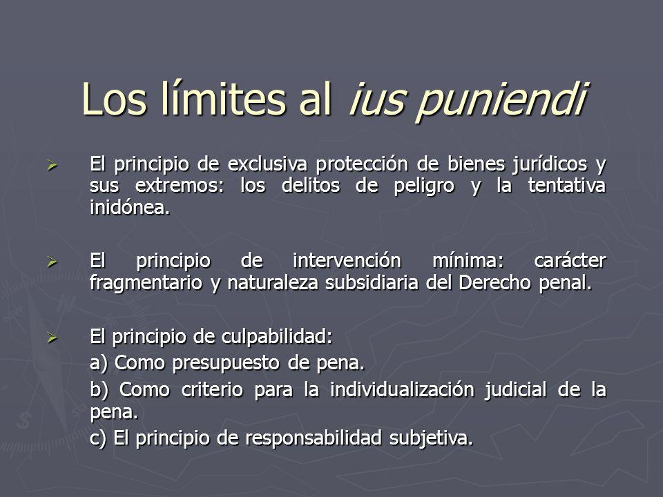 Los límites al ius puniendi El principio de exclusiva protección de bienes jurídicos y sus extremos: los delitos de peligro y la tentativa inidónea. E