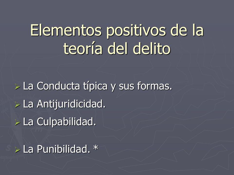 Elementos positivos de la teoría del delito La Conducta típica y sus formas. La Antijuridicidad. La Culpabilidad. La Punibilidad. *