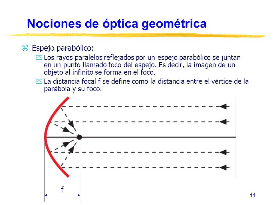 11 Nociones de óptica geométrica Espejo parab ó lico: Los rayos paralelos reflejados por un espejo parab ó lico se juntan en un punto llamado foco del