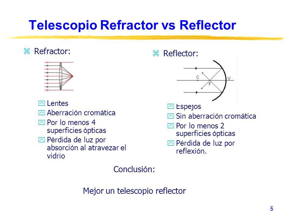5 Telescopio Refractor vs Reflector zRefractor: yLentes Aberraci ó n crom á tica Por lo menos 4 superficies ó pticas P é rdida de luz por absorci ó n