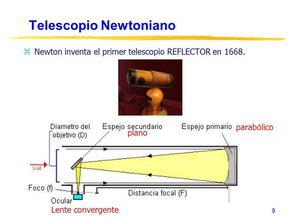 9 Telescopio Newtoniano zNewton inventa el primer telescopio REFLECTOR en 1668. parab ó lico plano Lente convergente