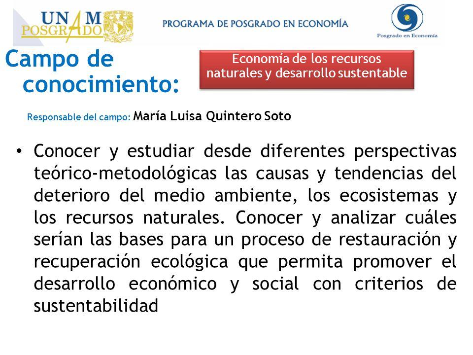 Campo de conocimiento: Economía de los recursos naturales y desarrollo sustentable Responsable del campo: María Luisa Quintero Soto Conocer y estudiar desde diferentes perspectivas teórico-metodológicas las causas y tendencias del deterioro del medio ambiente, los ecosistemas y los recursos naturales.