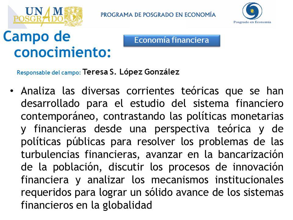 Campo de conocimiento: Economía financiera Responsable del campo: Teresa S. López González Analiza las diversas corrientes teóricas que se han desarro