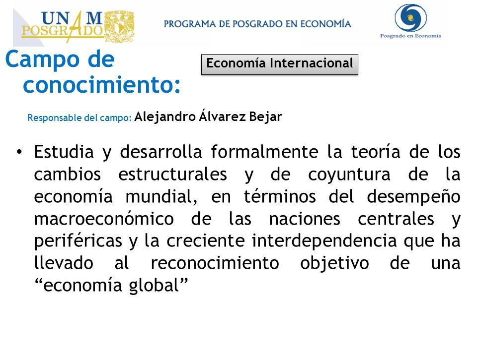 Campo de conocimiento: Economía Internacional Responsable del campo: Alejandro Álvarez Bejar Estudia y desarrolla formalmente la teoría de los cambios estructurales y de coyuntura de la economía mundial, en términos del desempeño macroeconómico de las naciones centrales y periféricas y la creciente interdependencia que ha llevado al reconocimiento objetivo de una economía global