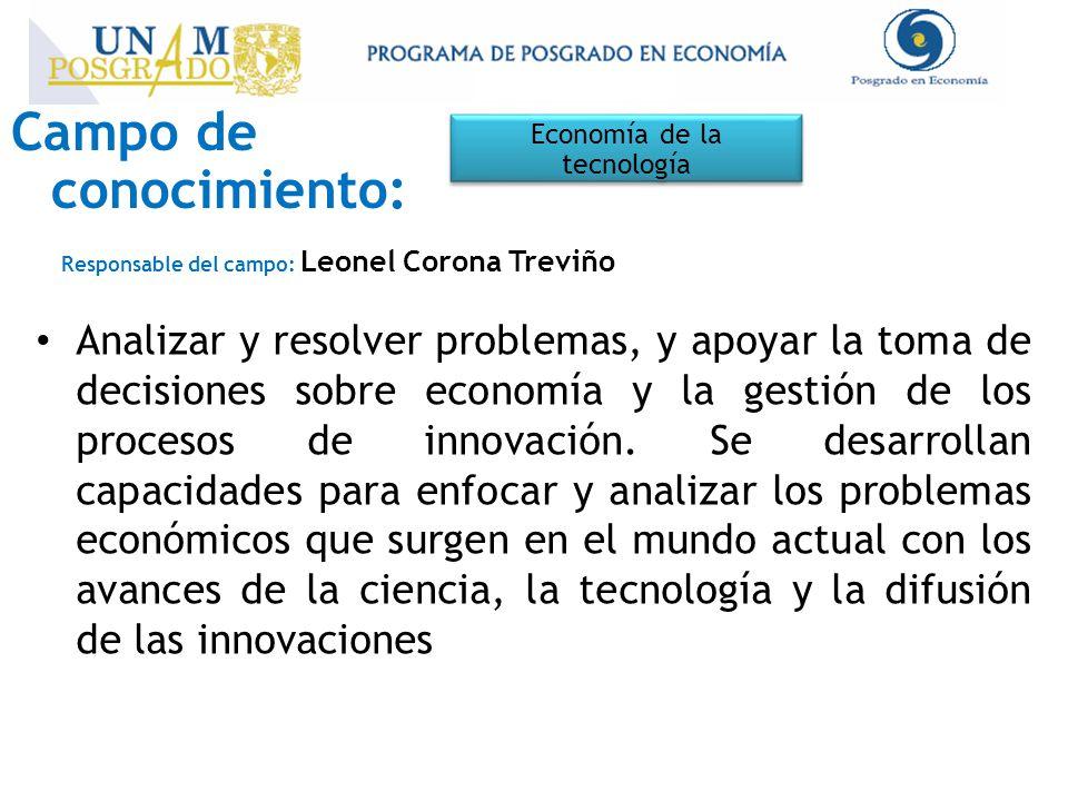 Campo de conocimiento: Economía de la tecnología Responsable del campo: Leonel Corona Treviño Analizar y resolver problemas, y apoyar la toma de decisiones sobre economía y la gestión de los procesos de innovación.