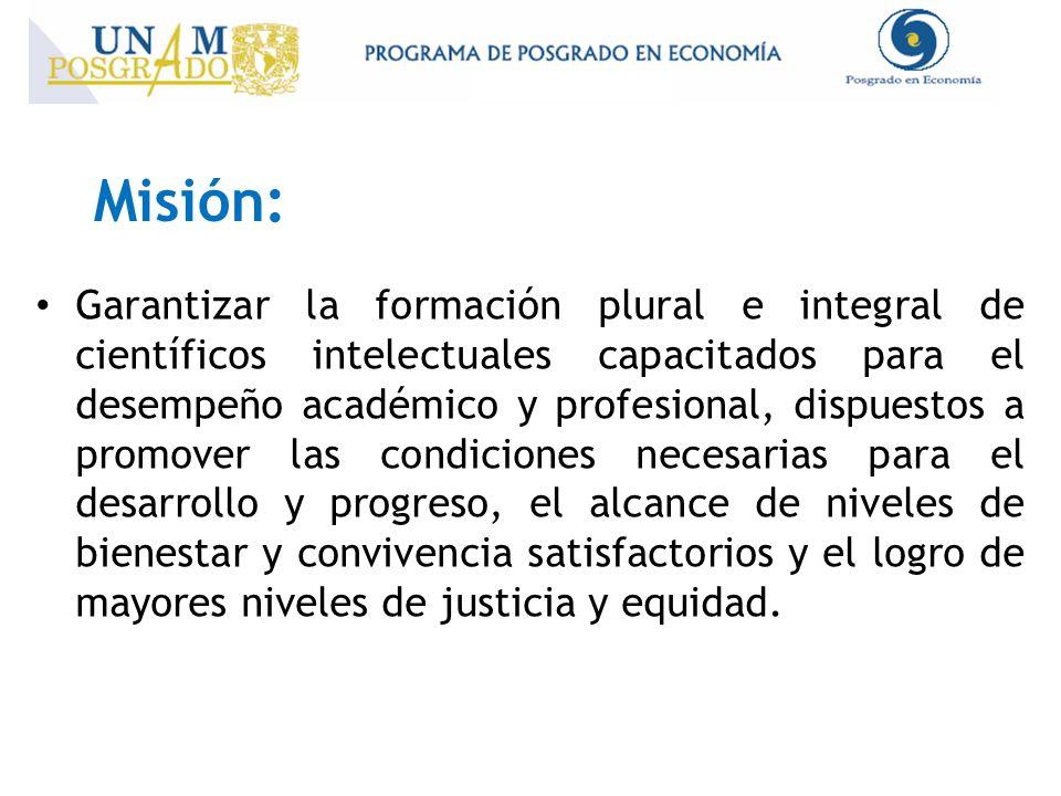 Misión: Garantizar la formación plural e integral de científicos intelectuales capacitados para el desempeño académico y profesional, dispuestos a pro