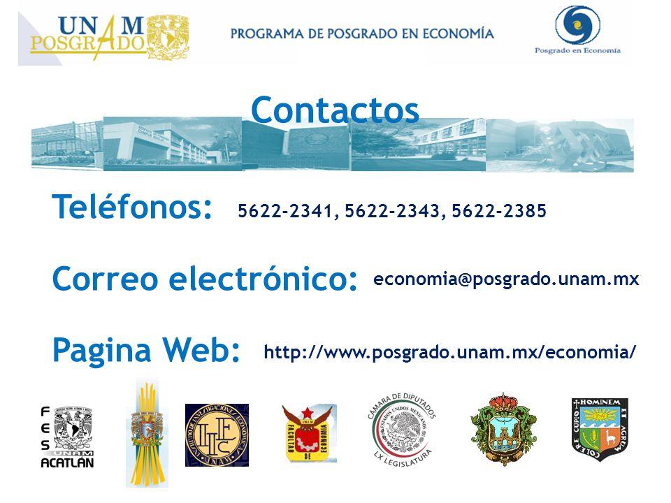 Contactos Teléfonos: Correo electrónico: Pagina Web: http://www.posgrado.unam.mx/economia/ economia@posgrado.unam.mx 5622-2341, 5622-2343, 5622-2385