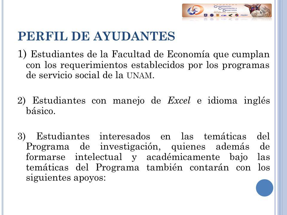 PERFIL DE AYUDANTES 1) Estudiantes de la Facultad de Economía que cumplan con los requerimientos establecidos por los programas de servicio social de la UNAM.