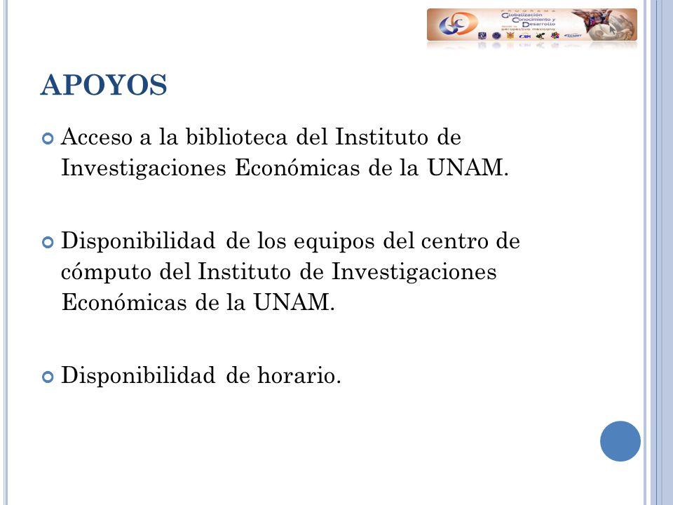 APOYOS Acceso a la biblioteca del Instituto de Investigaciones Económicas de la UNAM.