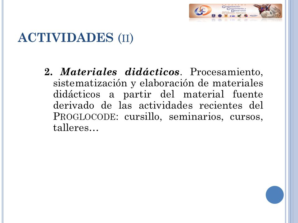 ACTIVIDADES ( II ) 2. Materiales didácticos.