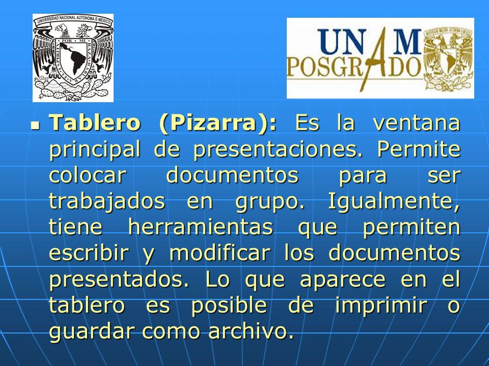 Tablero (Pizarra): Es la ventana principal de presentaciones.