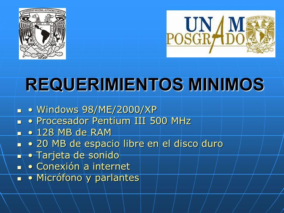 REQUERIMIENTOS MINIMOS Windows 98/ME/2000/XP Windows 98/ME/2000/XP Procesador Pentium III 500 MHz Procesador Pentium III 500 MHz 128 MB de RAM 128 MB de RAM 20 MB de espacio libre en el disco duro 20 MB de espacio libre en el disco duro Tarjeta de sonido Tarjeta de sonido Conexión a internet Conexión a internet Micrófono y parlantes Micrófono y parlantes