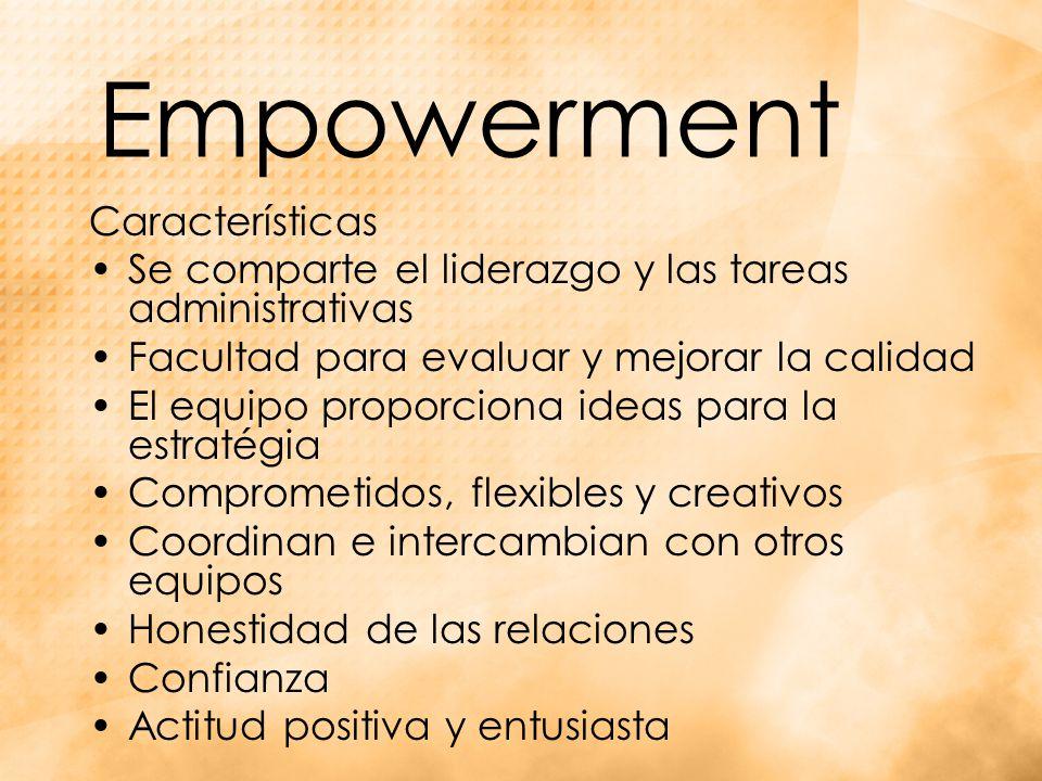 Empowerment Características Se comparte el liderazgo y las tareas administrativas Facultad para evaluar y mejorar la calidad El equipo proporciona ideas para la estratégia Comprometidos, flexibles y creativos Coordinan e intercambian con otros equipos Honestidad de las relaciones Confianza Actitud positiva y entusiasta