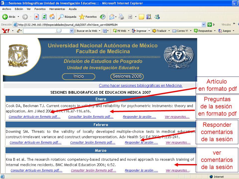 Artículo en formato pdf Preguntas de la sesión en formato pdf Responder comentarios de la sesión ver comentarios de la sesión