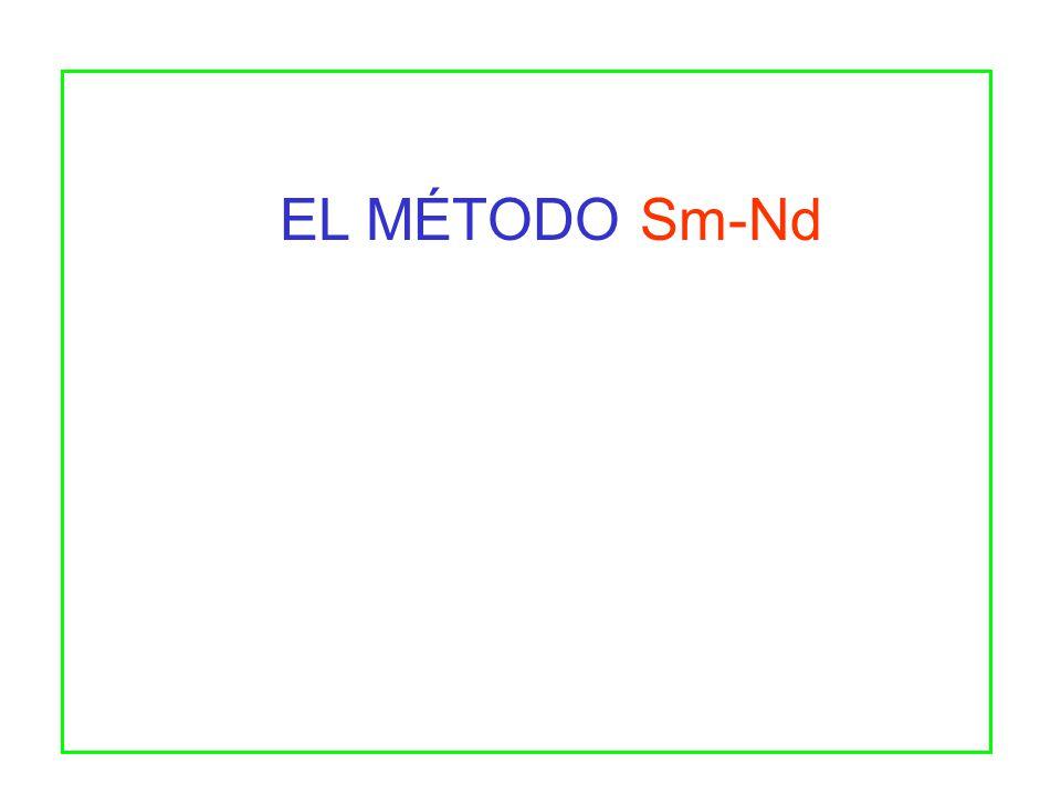 143 Nd 144 Nd = ( 143 Nd 144 Nd ) i + 147 Sm 144 Nd ( e t - 1 ) El decaimiento de 147 Sm y el aumento de 143 Nd radiogénico se describe por la siguiente ecuación: