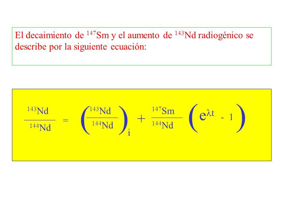 143 Nd 144 Nd = ( 143 Nd 144 Nd ) i + 147 Sm 144 Nd ( e t - 1 ) El decaimiento de 147 Sm y el aumento de 143 Nd radiogénico se describe por la siguien
