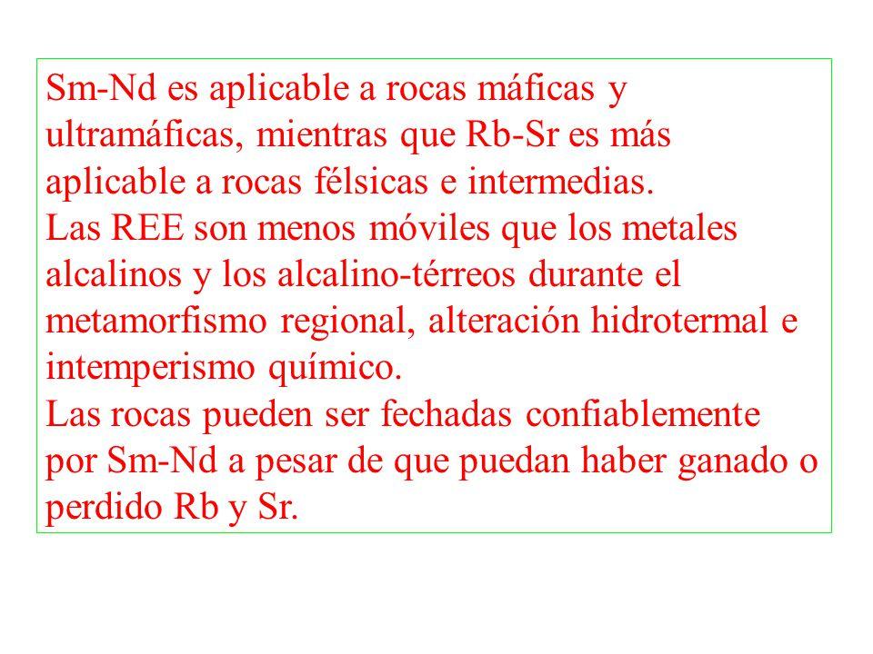 Sm-Nd es aplicable a rocas máficas y ultramáficas, mientras que Rb-Sr es más aplicable a rocas félsicas e intermedias. Las REE son menos móviles que l