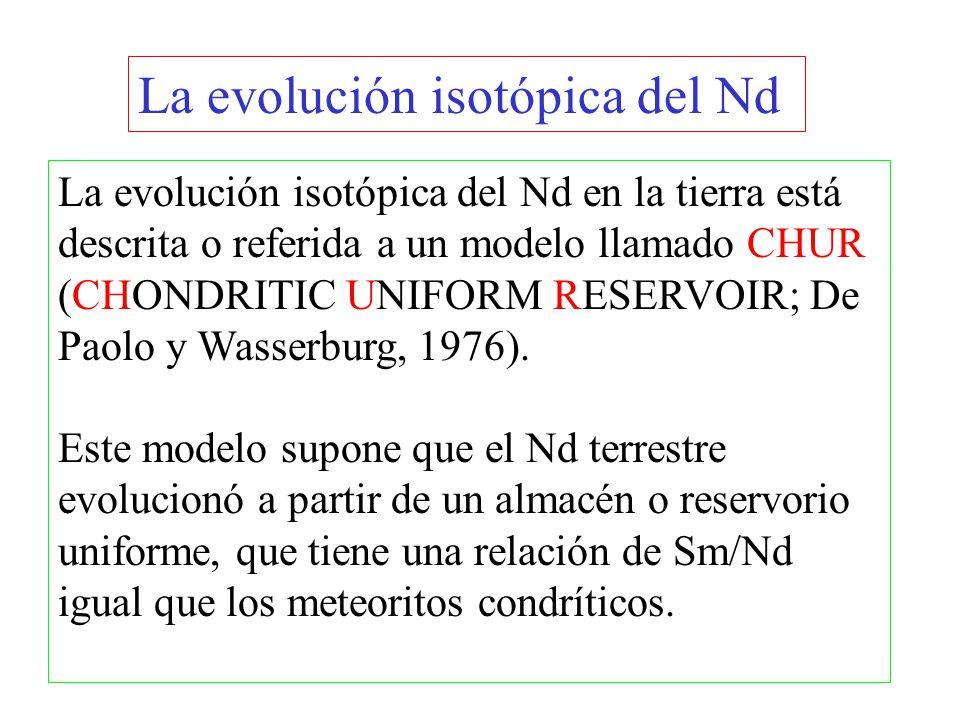 La evolución isotópica del Nd La evolución isotópica del Nd en la tierra está descrita o referida a un modelo llamado CHUR (CHONDRITIC UNIFORM RESERVO