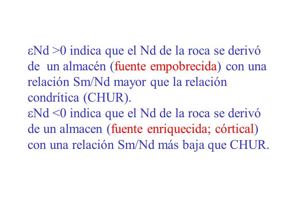 Nd >0 indica que el Nd de la roca se derivó de un almacén (fuente empobrecida) con una relación Sm/Nd mayor que la relación condrítica (CHUR). Nd <0 i