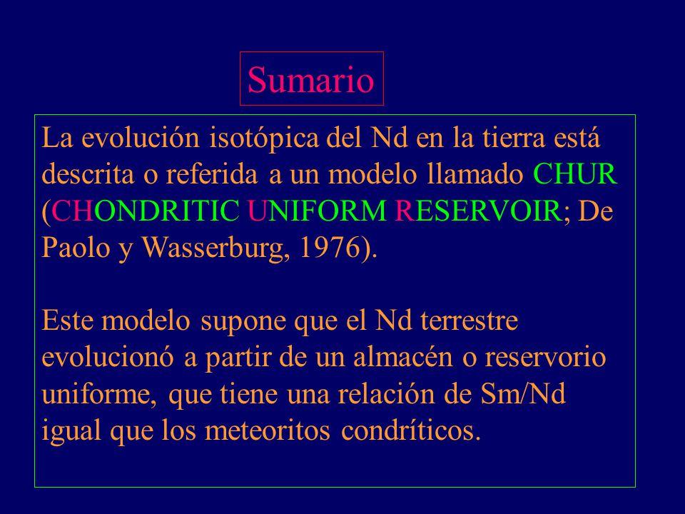 Sumario La evolución isotópica del Nd en la tierra está descrita o referida a un modelo llamado CHUR (CHONDRITIC UNIFORM RESERVOIR; De Paolo y Wasserb