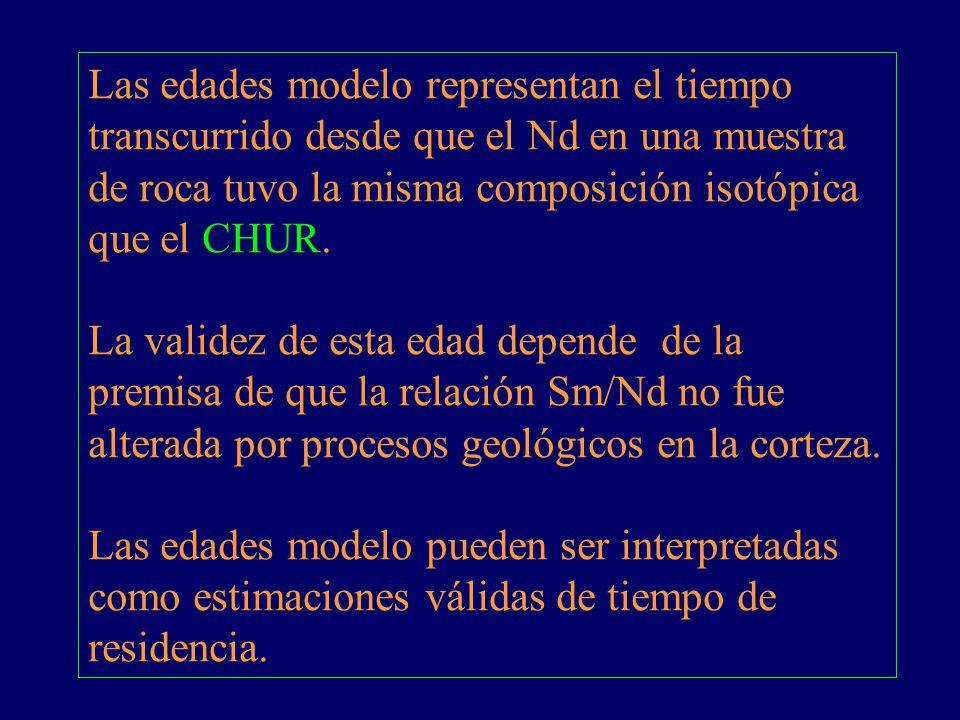 Las edades modelo representan el tiempo transcurrido desde que el Nd en una muestra de roca tuvo la misma composición isotópica que el CHUR. La valide