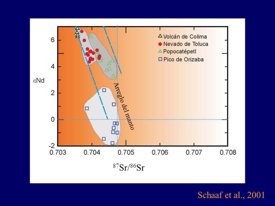 Schaaf et al., 2001 87 Sr/ 86 Sr Arreglo del manto