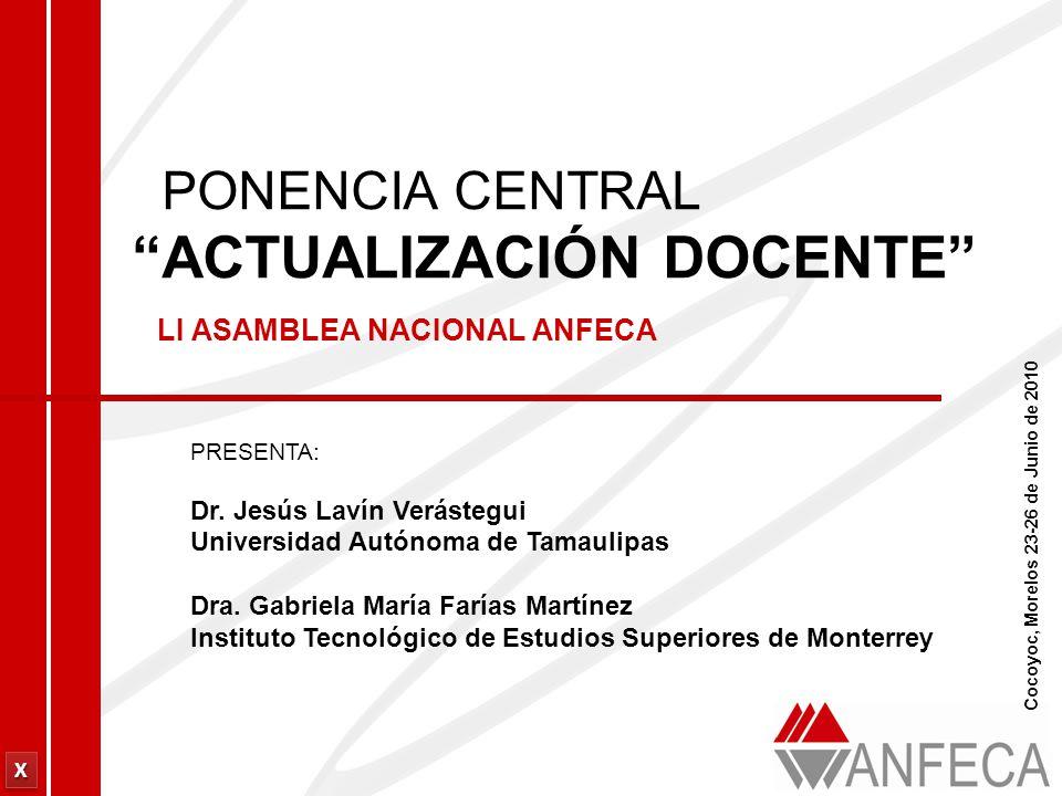 XXXX XXXX PONENCIA CENTRAL ACTUALIZACIÓN DOCENTE LI ASAMBLEA NACIONAL ANFECA PRESENTA: Dr.