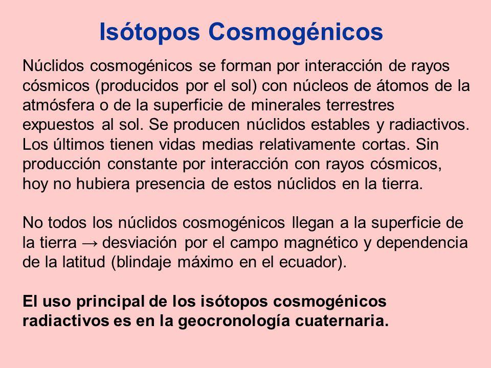 Isótopos Cosmogénicos Núclidos cosmogénicos se forman por interacción de rayos cósmicos (producidos por el sol) con núcleos de átomos de la atmósfera o de la superficie de minerales terrestres expuestos al sol.