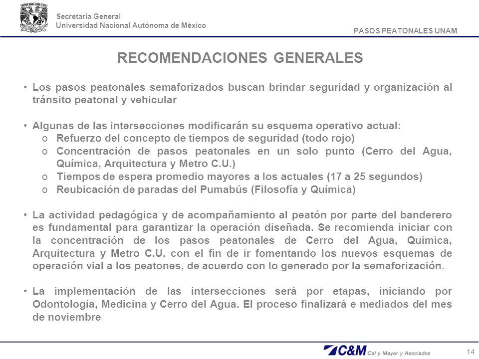 PASOS PEATONALES UNAM Secretaria General Universidad Nacional Autónoma de México 14 RECOMENDACIONES GENERALES Los pasos peatonales semaforizados busca