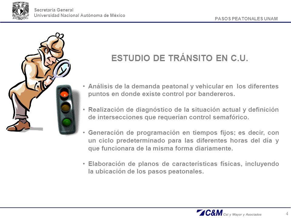 PASOS PEATONALES UNAM Secretaria General Universidad Nacional Autónoma de México 4 Análisis de la demanda peatonal y vehicular en los diferentes punto