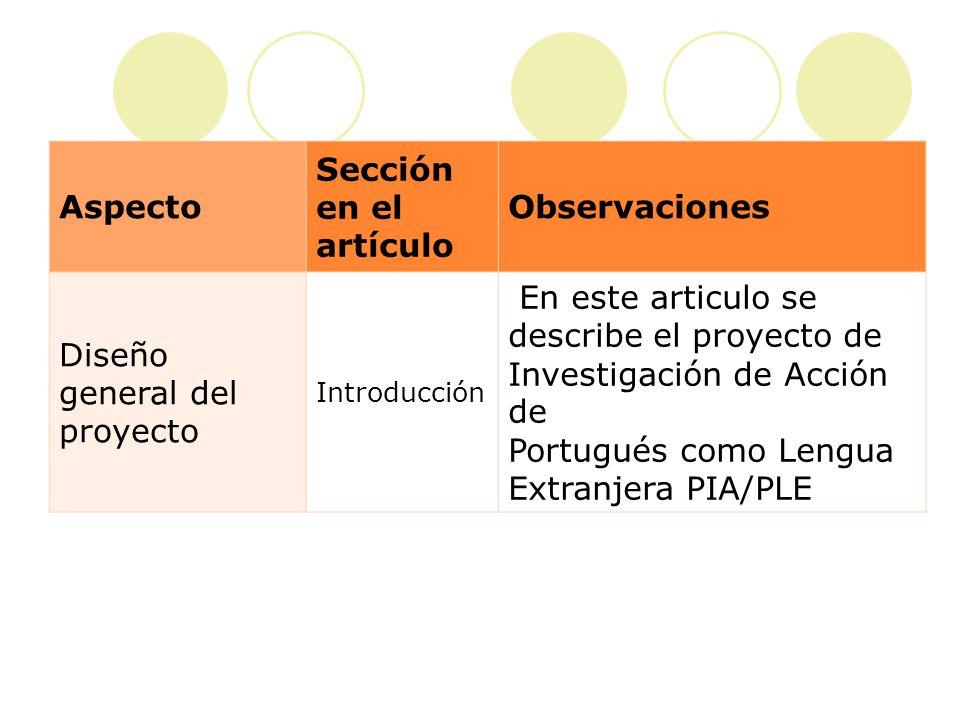 Aspecto Sección en el artículo Observaciones Identificac ión de un problema important e Introducción El problema identificado en este proyecto es un evento típico del salón de clase: la evaluación y el tratamiento del error.