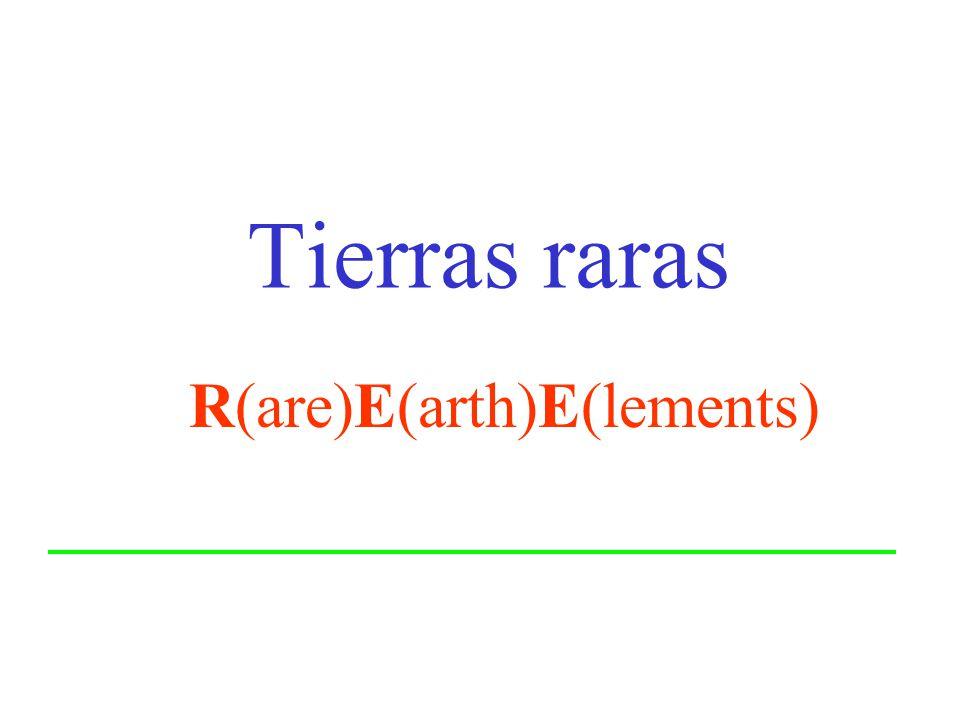 Características generales de las tierras raras (REE) La-Lu (número atómico desde 57 a 71) La serie de lantánidos es el grupo de elementos químicos que siguen al lantano en el grupo IIIB de la tabla periódica.