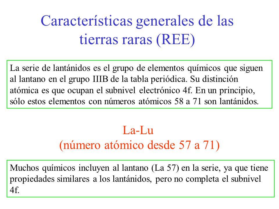 Características generales de las tierras raras (REE) La-Lu (número atómico desde 57 a 71) La serie de lantánidos es el grupo de elementos químicos que