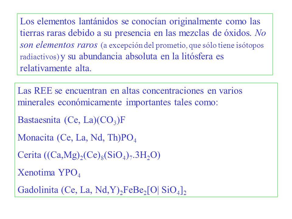 Las REE se encuentran en altas concentraciones en varios minerales económicamente importantes tales como: Bastaesnita (Ce, La)(CO 3 )F Monacita (Ce, L