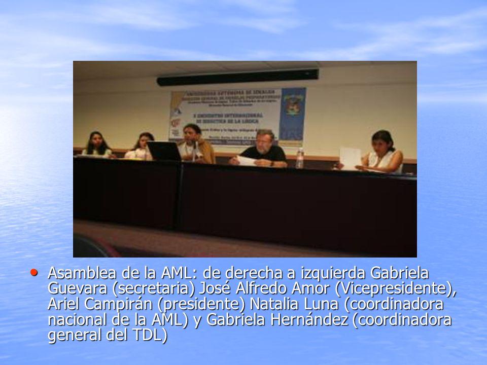 Asamblea de la AML: de derecha a izquierda Gabriela Guevara (secretaria) José Alfredo Amor (Vicepresidente), Ariel Campirán (presidente) Natalia Luna