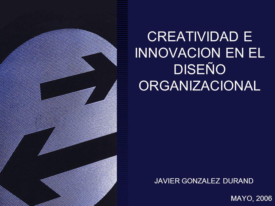CREATIVIDAD E INNOVACION EN EL DISEÑO ORGANIZACIONAL JAVIER GONZALEZ DURAND MAYO, 2006
