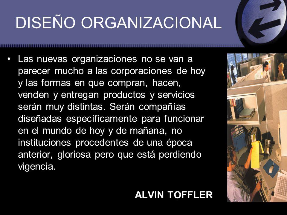 DISEÑO ORGANIZACIONAL Las nuevas organizaciones no se van a parecer mucho a las corporaciones de hoy y las formas en que compran, hacen, venden y entr