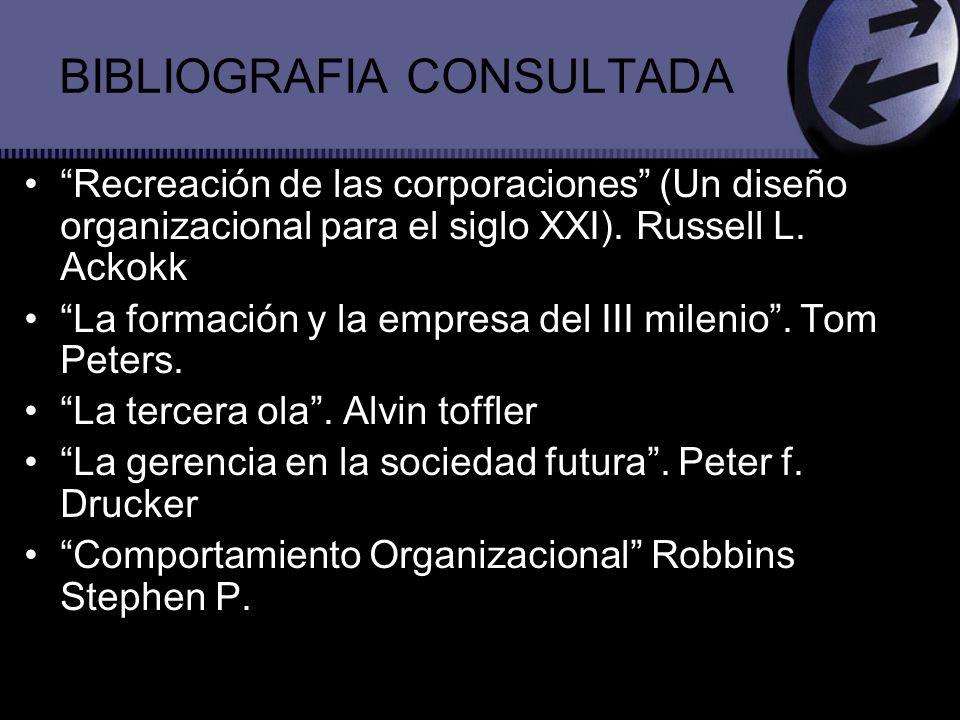 BIBLIOGRAFIA CONSULTADA Recreación de las corporaciones (Un diseño organizacional para el siglo XXI). Russell L. Ackokk La formación y la empresa del