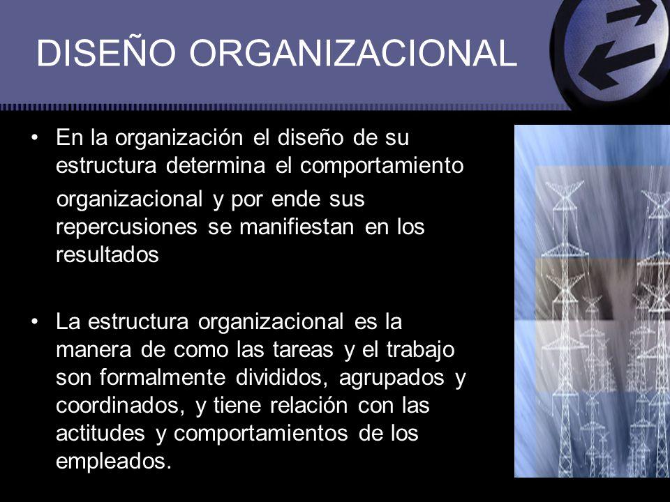 En la organización el diseño de su estructura determina el comportamiento organizacional y por ende sus repercusiones se manifiestan en los resultados