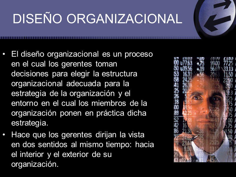 DISEÑO ORGANIZACIONAL Dadas las necesidades totales de la organización se debe tomar en cuenta todas las tareas que deben realizarse.