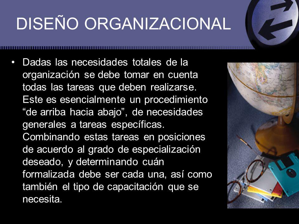 DISEÑO ORGANIZACIONAL Dadas las necesidades totales de la organización se debe tomar en cuenta todas las tareas que deben realizarse. Este es esencial