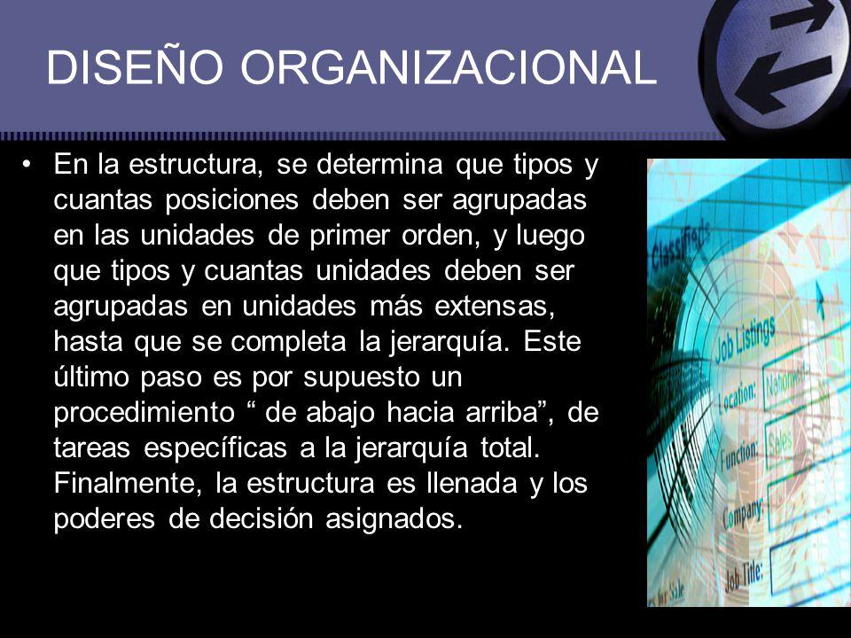 DISEÑO ORGANIZACIONAL En la estructura, se determina que tipos y cuantas posiciones deben ser agrupadas en las unidades de primer orden, y luego que t