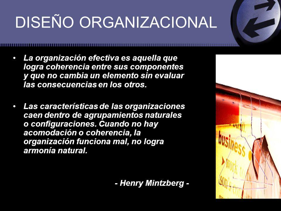 DISEÑO ORGANIZACIONAL La organización efectiva es aquella que logra coherencia entre sus componentes y que no cambia un elemento sin evaluar las conse